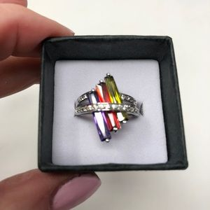 NEW RS Covenant Tri-Color Rhinestone Ring 6